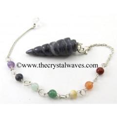 Blue Aventurine Spiral Pendulum With Chakra Chain