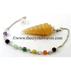 Yellow Aventurine Spiral Pendulum With Chakra Chain