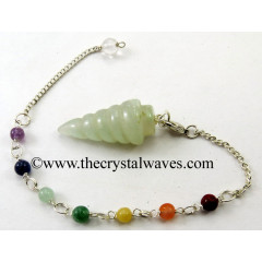 Green Aventurine Spiral Pendulum With Chakra Chain
