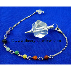 Crystal Quartz AB Grade Hexagonal Pendulum With Chakra Chain