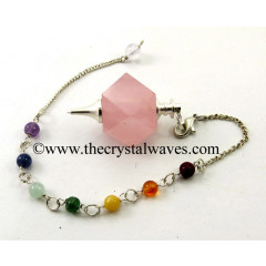 Rose Quartz Hexagonal Pendulum With Chakra Chain