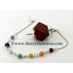 Red Jasper Hexagonal Pendulum With Chakra Chain