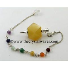Yellow Aventurine Hexagonal Pendulum With Chakra Chain