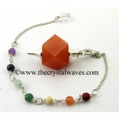 Red Aventurine Hexagonal Pendulum With Chakra Chain