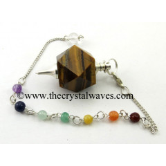 Yellow Tiger Eye Agate Hexagonal Pendulum With Chakra Chain
