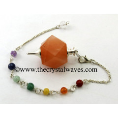 Peach Moonstone Hexagonal Pendulum With Chakra Chain