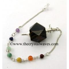 Blue / Black Tiger Eye Agate Hexagonal Pendulum With Chakra Chain