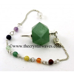 Green Aventurine Hexagonal Pendulum With Chakra Chain