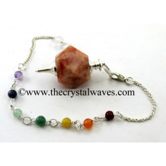 Sunstone Hexagonal Pendulum With Chakra Chain