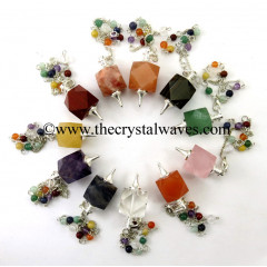 Mix Gemstone Hexagonal Pendulum With Chakra Chain