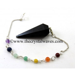 Black Tourmaline Faceted Pendulum With Chakra Chain