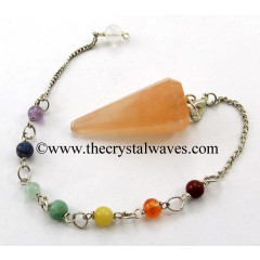 Orange Selenite Faceted Pendulum With Chakra Chain