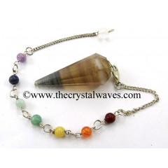 Multi Fluorite Faceted Pendulum With Chakra Chain