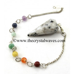 Rainbow Moonstone Faceted Pendulum With Chakra Chain