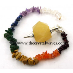 Yellow Aventurine Hexagonal Pendulum With Chakra Chips Chain