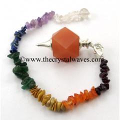 Red Aventurine Hexagonal Pendulum With Chakra Chips Chain