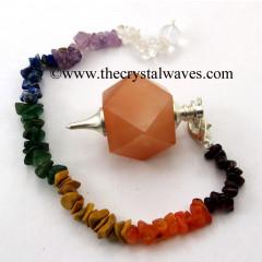 Peach Moonstone Hexagonal Pendulum With Chakra Chips Chain
