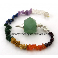 Green Aventurine Hexagonal Pendulum With Chakra Chips Chain