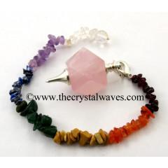 Rose Quartz Hexagonal Pendulum With Chakra Chips Chain