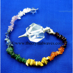 Crystal Quartz A Grade Hexagonal Pendulum With Chakra Chips Chain