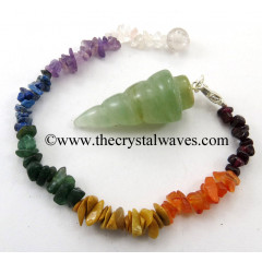 Green Aventurine Spiral Pendulum With Chakra Chips Chain