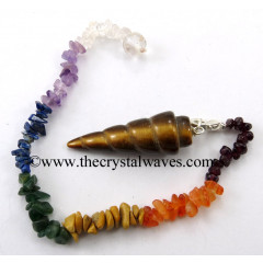 Yellow Tiger Eye Agate Spiral Pendulum With Chakra Chips Chain