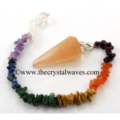 Orange Selenite Faceted   Pendulum With Chakra Chips Chain