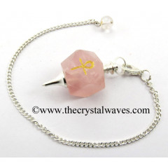 Rose Quartz Ankh Engraved Hexagonal Pendulum