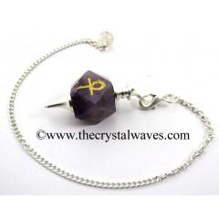 Amethyst Ankh Engraved Hexagonal Pendulum