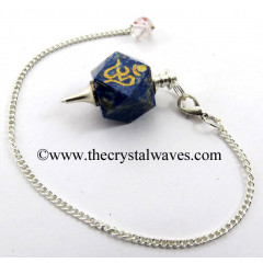 Lapis Lazuli Om Engraved Hexagonal Pendulum