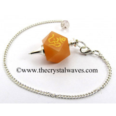 Yellow Aventurine Om Engraved Hexagonal Pendulum
