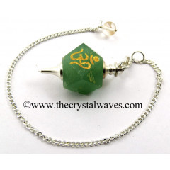 Green Aventurine Om Engraved Hexagonal Pendulum