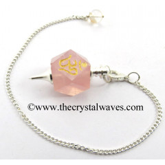 Rose Quartz Om Engraved Hexagonal Pendulum
