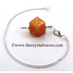 Red Aventurine Om Engraved Hexagonal Pendulum