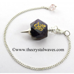 Amethyst Om Engraved Hexagonal Pendulum