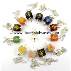 Mix Gemstones Om Engraved Hexagonal Pendulum