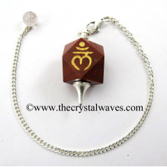 Red Jasper Lam Engraved Hexagonal Pendulum
