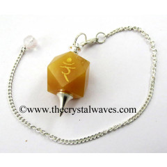 Yellow Aventurine Yam Engraved Hexagonal Pendulum