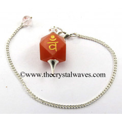 Red Aventurine Vam Engraved Hexagonal Pendulum