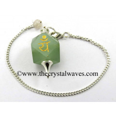 Green Aventurine Yam Engraved Hexagonal Pendulum