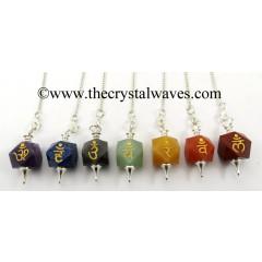 Chakra Letters Engraved Hexagonal Pendulum Chakra Set