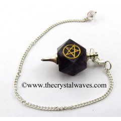 Amethyst Pentacle Engraved Hexagonal Pendulum