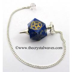 Lapis Lazuli Pentacle Engraved Hexagonal Pendulum
