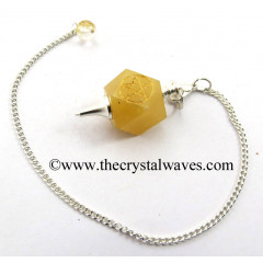 Yellow Aventurine Pentacle Engraved Hexagonal Pendulum