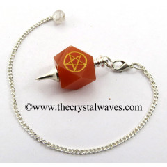 Red Aventurine Pentacle Engraved Hexagonal Pendulum