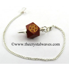 Red Jasper Pentacle Engraved Hexagonal Pendulum