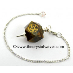 Tiger Eye Agate Pentacle Engraved Hexagonal Pendulum
