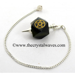 Blue / Black Tiger Eye Agate Pentacle Engraved Hexagonal Pendulum