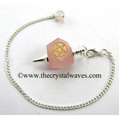 Rose Quartz Pentacle Engraved Hexagonal Pendulum