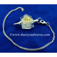Crystal Quartz Pentacle Engraved Hexagonal Pendulum